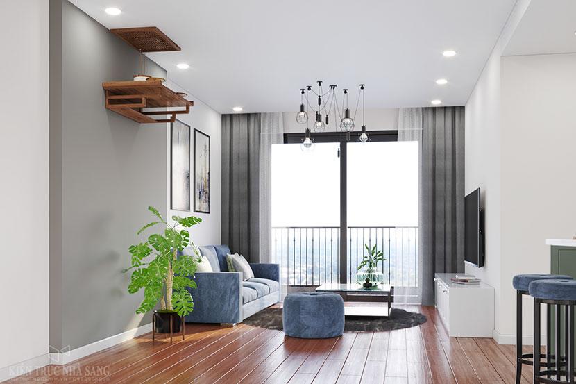 phòng khách với tông màu sáng trẻ trung của căn hộ Homeland Long Biên