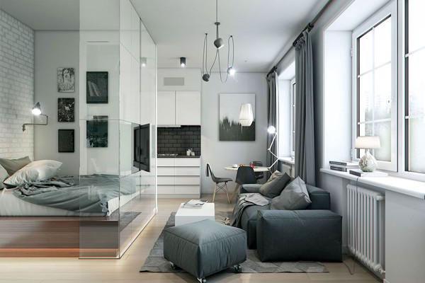 sử dụng vách kính ngăn chia không gian cho căn hộ chung cư 60m2