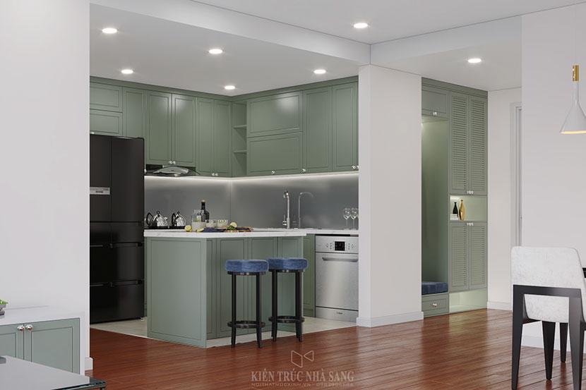 thiết kế bếp với màu sắc trẻ trung năng động của căn hộ chung cư Homeland Long Biên