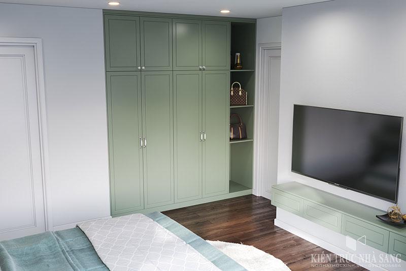 thiết kế phòng ngủ với màu sắc xanh mới lạ tại chung cư Homeland