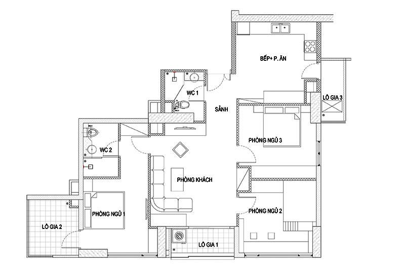 mặt bằng bố trí nội thất căn hộ 08 chung cư N03T7 khu đoàn ngoại giao