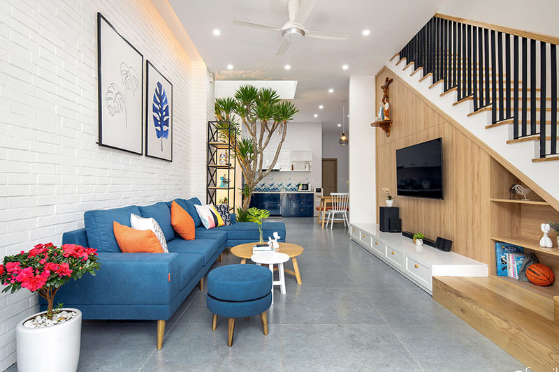 sử dụng gạch lát sàn đúng cách tạo cho căn nhà phố có chiều sâu