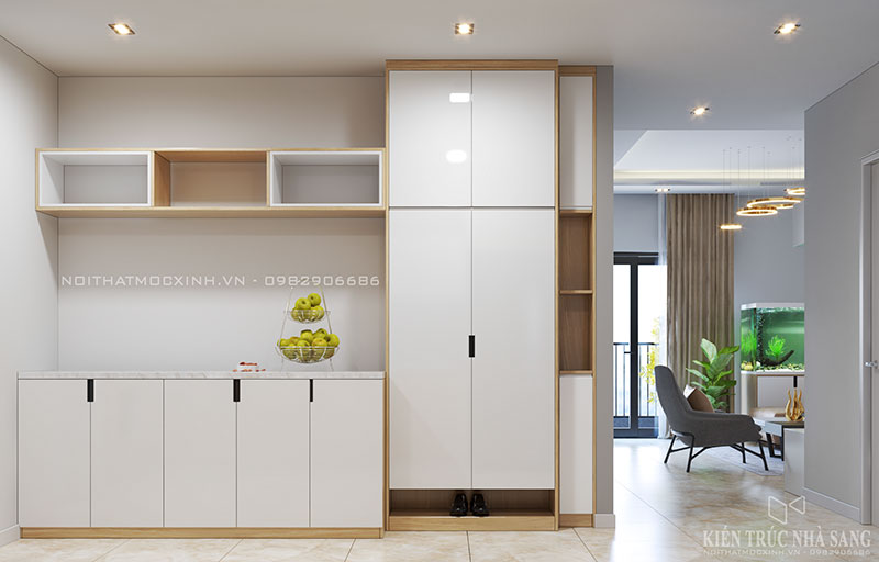 thi công tủ giầy hiện đại cho căn hộ chung cư N03T7 khu đoàn ngoại giao