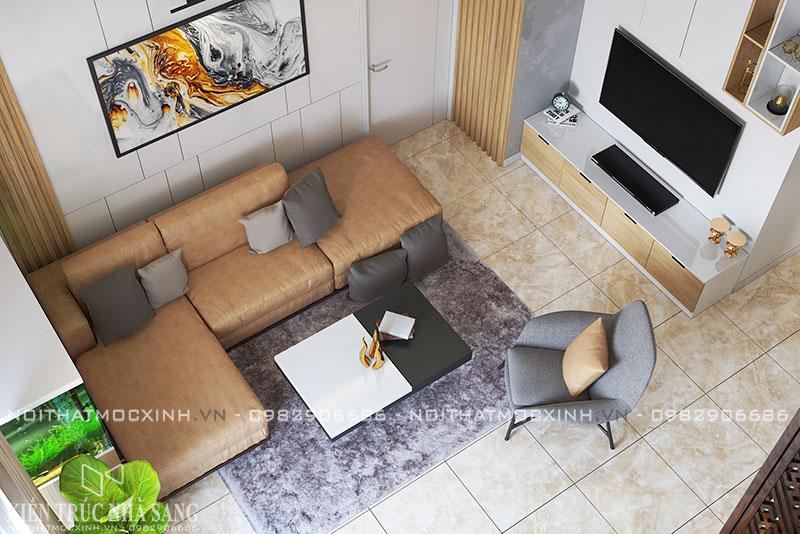 thiết kế thi công nội thất phòng khách căn hộ 3 ngủ hiện đại