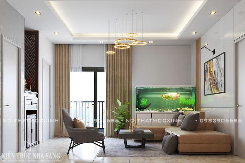 thiết kế thi công nội thất phòng khách căn hộ 3 ngủ N03T7 khu đoàn ngoại giao