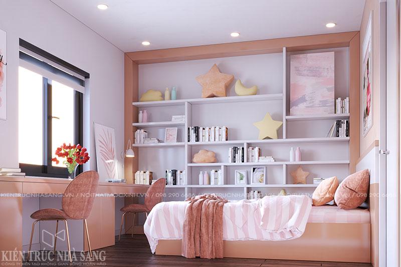 thiết kế nội thất phòng ngủ con gái nhà bàn giao thô