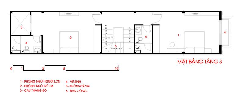 mặt bằng tầng 3 nhà phố 4x27m