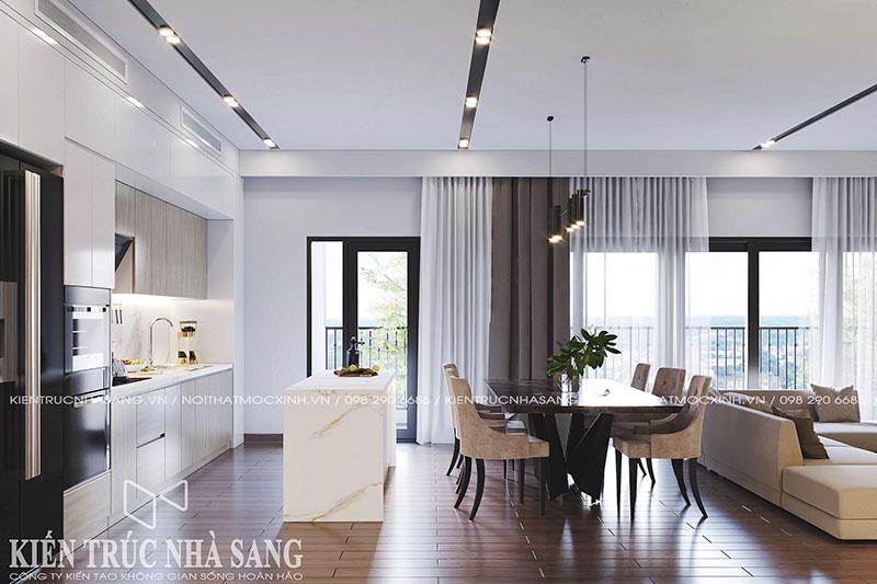thiết kế thi công nội thất không gian bếp chung cư imperia