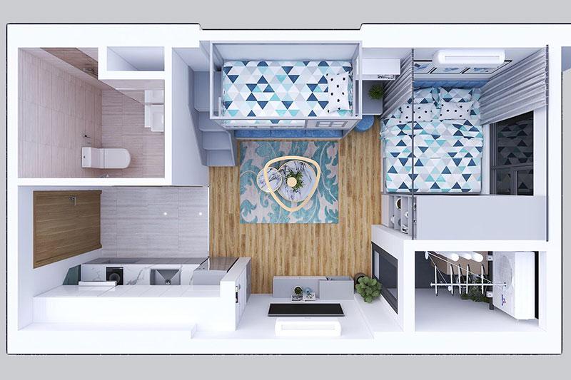 mặt bằng ý tưởng thiết kế nội thất chung cư nhỏ