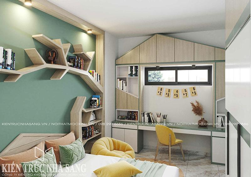 mẫu thiết kế nội thất phòng ngủ trẻ em co bàn học rộng và đẹp