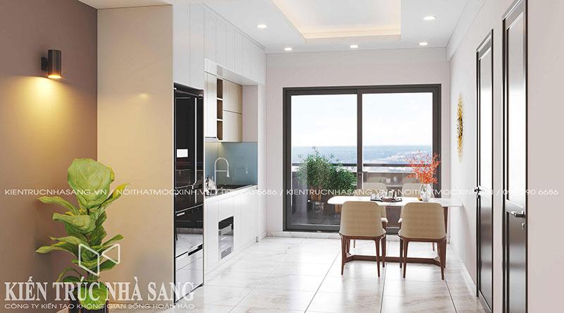 thiết kế nội thất bếp và phòng ăn cho căn hộ chung cư