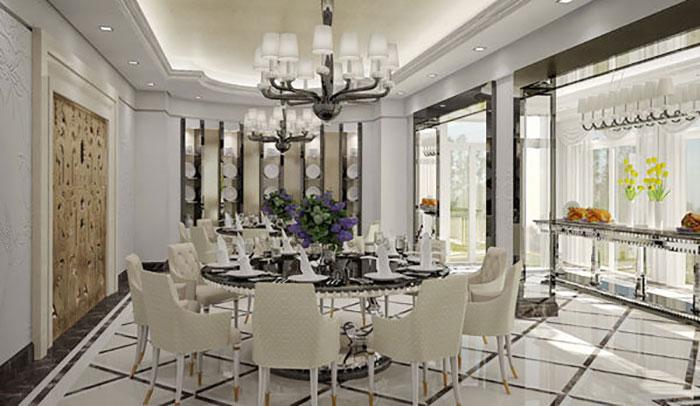 thiết kế nội thất phòng ăn chung cư trang trọng