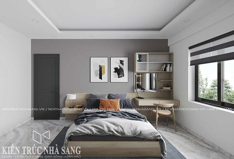 thiết kế nội thất phòng ngủ bố mẹ hiện đại cho căn hộ chung cư cũ