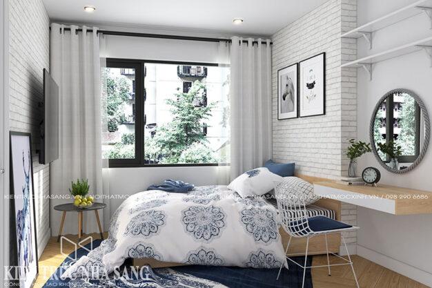 thiết kế nội thất phòng ngủ chung cư trẻ trung lãng mạn