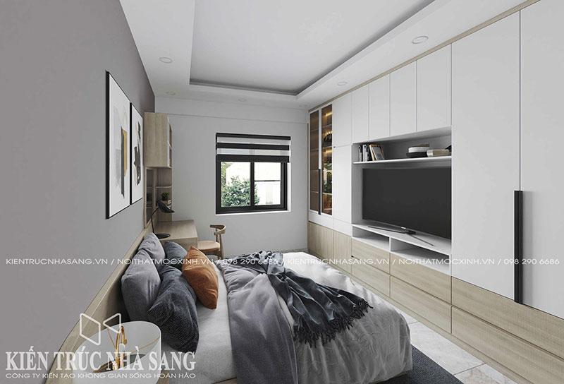 thiết kế nội thất phòng ngủ master chung cư cũ
