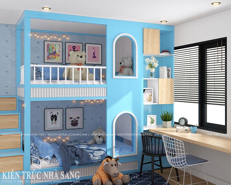 thiết kế nội thất phòng ngủ trẻ em có giường tầng