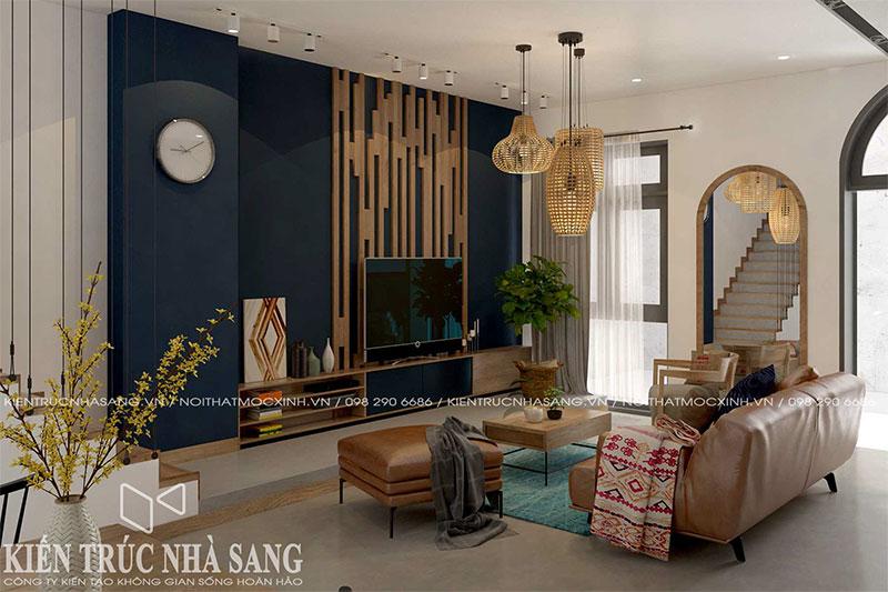 thiết kế thi công nội thất phòng khách nhà ống hiện đại