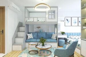 ý tưởng thiết kế cho căn hộ nhỏ giường tầng kết hợp sofa