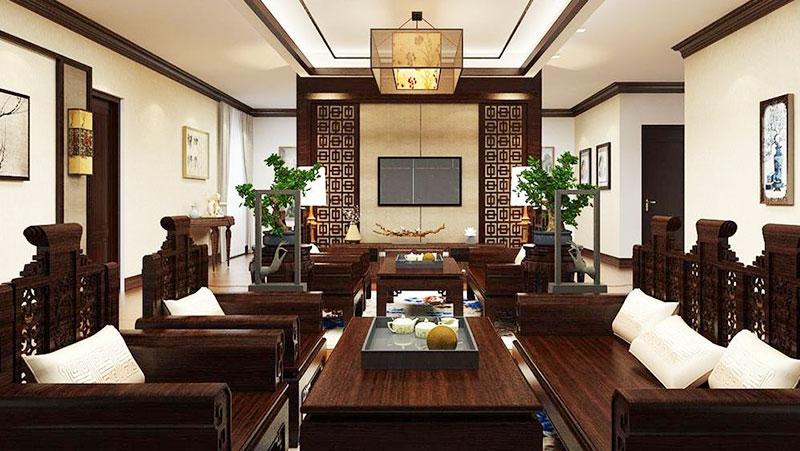 mẫu thiết kế nội thất phòng khách truyền thống