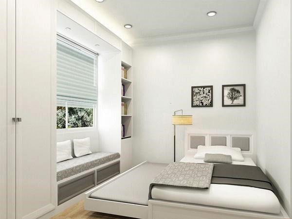 mẫu thiết kế nội thất phòng ngủ nhỏ gam màu sáng