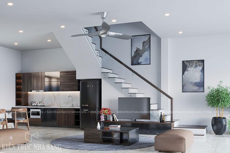 thiết kế nội thất phòng khách khu vực cầu thang