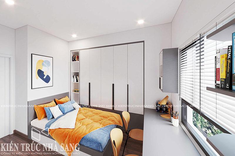 thiết kế nội thất phòng ngủ giường kết hợp tủ quần áo