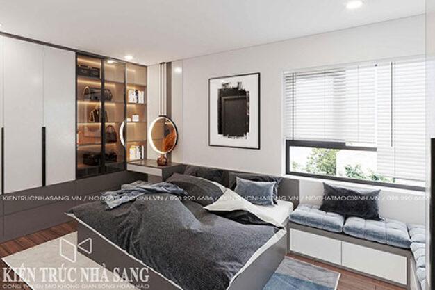 thiết kế nội thất phòng ngủ hiện đại 15m2