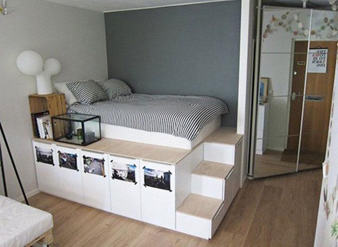 thiết kế nội thất phòng ngủ nhỏ sử dụng đồ nội thất đa năng