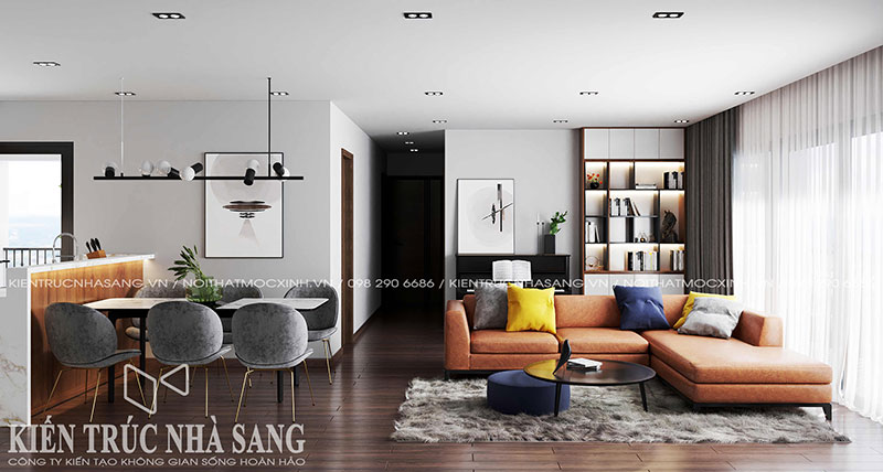 thiết kế thi công nội thất phòng khách đẹp hiện đại