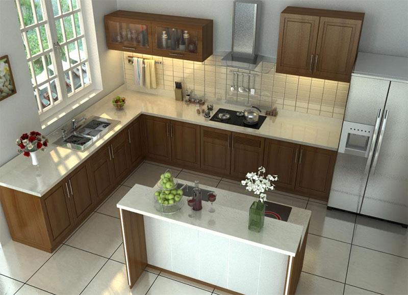 mẫu nội thất phòng bếp cho nhà ống