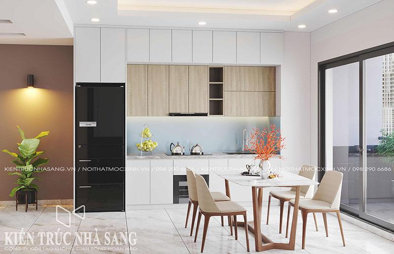 mẫu thiết kế nội thất tủ bếp hiện đại chung cư cũ
