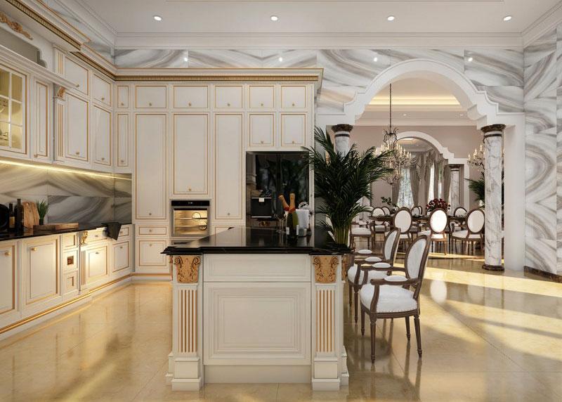 thiết kế nội thất nhà bếp đẹp tân cổ điển