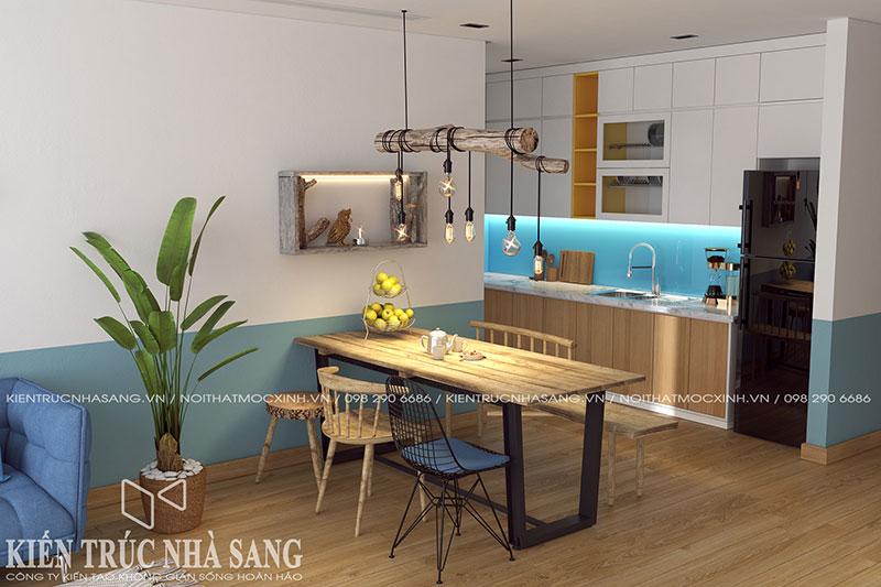 thiết kế tủ bếp nhà chung cư hiện đại độc đáo