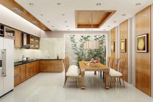 thiết kế tủ bếp phù hợp với không gian chung cửa phòng ăn