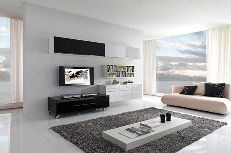nội thất tối giản hiện đại với tông màu trắng pha đen