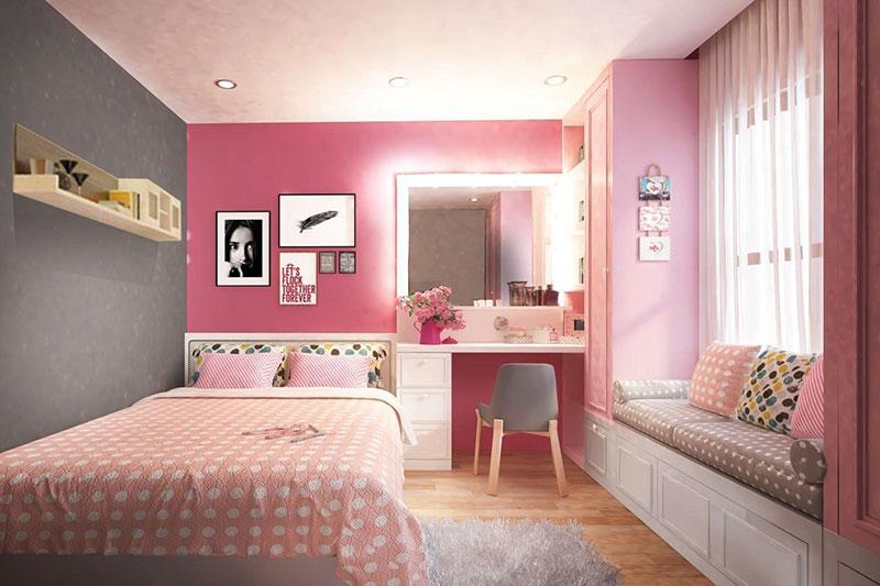 sức hấp dẫn từ mẫu thiết kế nội thất màu hồng