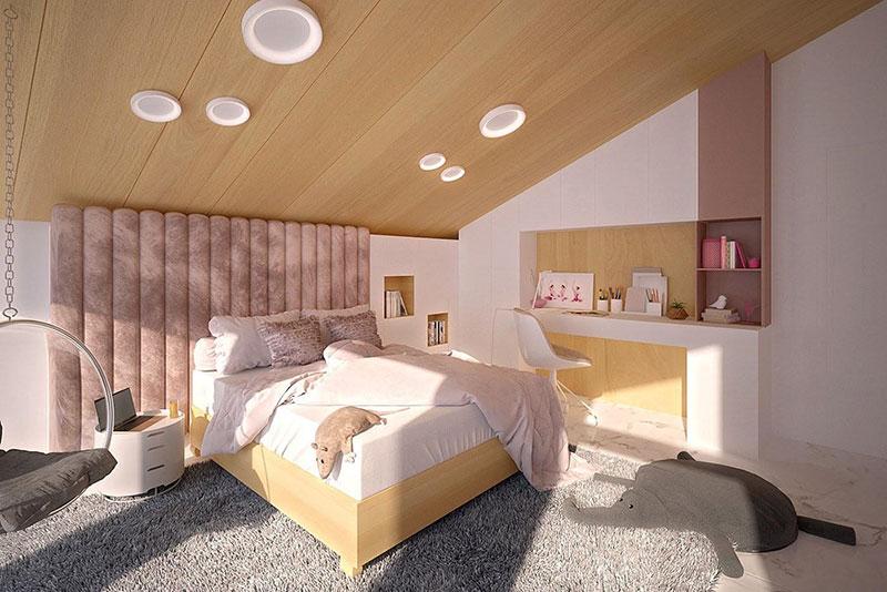 thiết kế ấn tượng nội thất phòng ngủ mái chéo