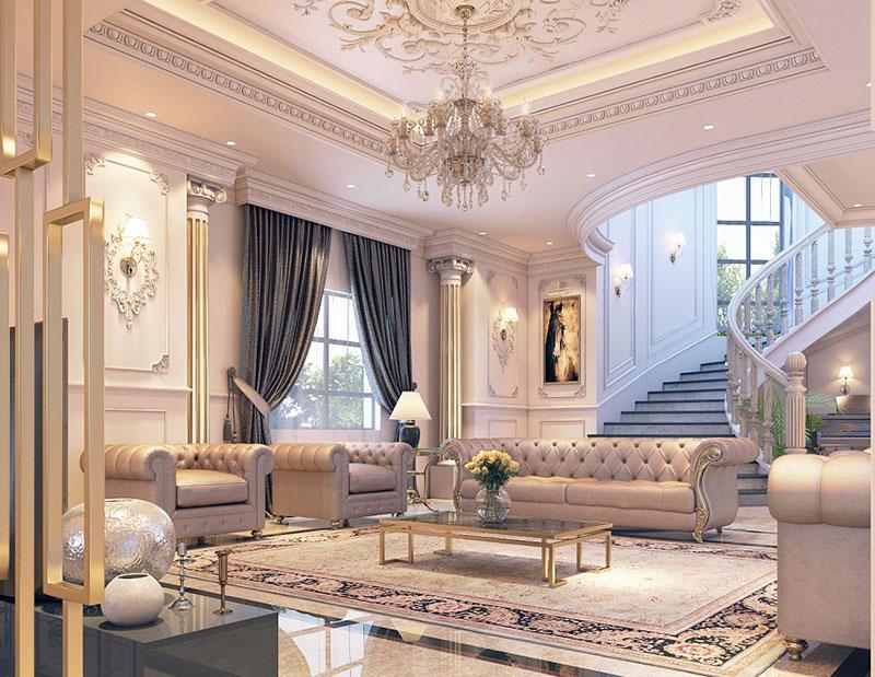 thiết kế nội thất cầu thang phong cách Tây Âu