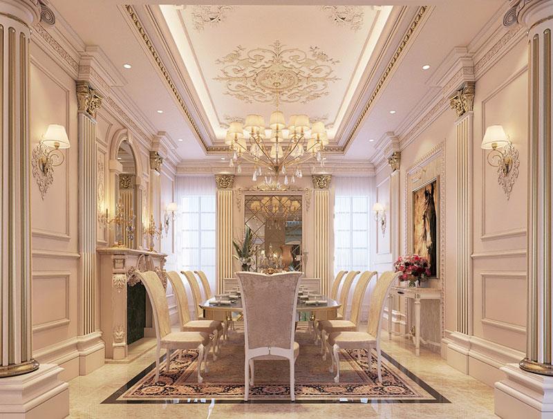thiết kế nội thất phòng ăn phong cách Tây Âu