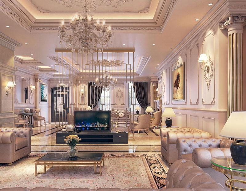 thiết kế nội thất phòng khách phong cách Tây Âu