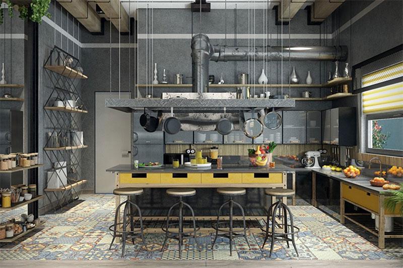 thiết kế nội thất theo phong cách Industrial