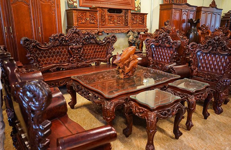 mẫu nội thất phòng khách với gỗ hương truyền thống