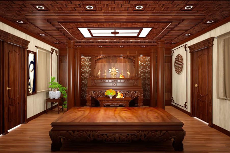 nội thất gỗ tự nhiên đặc trưng của không gian phòng thờ