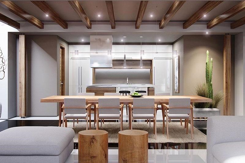 phòng ăn sử dụng gỗ tự nhiên nhẹ nhàng đơn giản