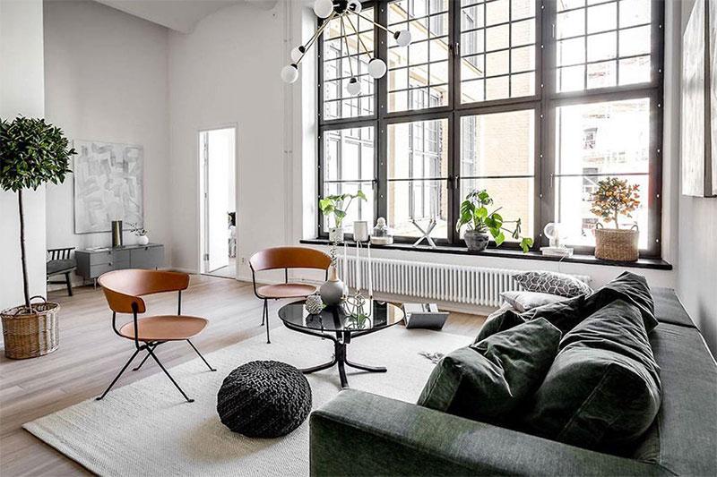 phong cách thiết kế nội thất Scandinavian sử dụng cửa sổ lớn