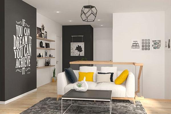 nội thất với hình khối sắc nét mang đến không gian sống mở rộng