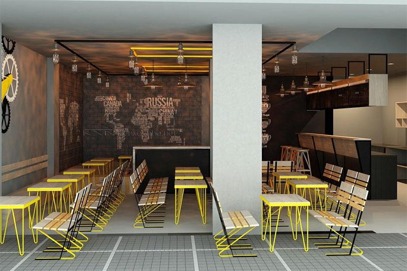 ấn tượng với phong cách thiết kế quán ăn đơn giản
