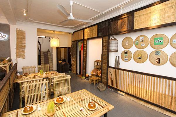 thiết kế nhà hàng với vật liệu tre truyền thống tạo sự gần gũi