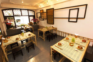 thiết kế nội thất cửa hàng ăn với không gian thư giãn