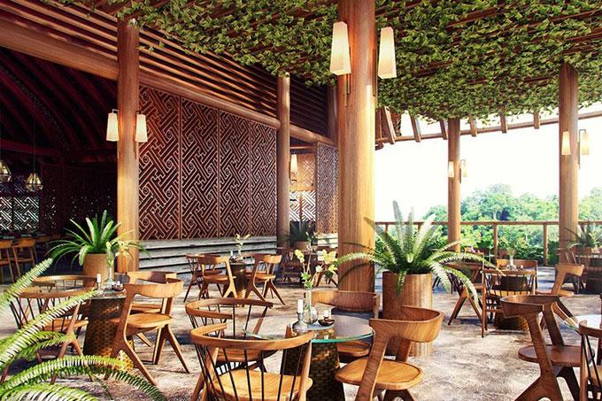 mẫu resort sử dụng cây xanh tạo không gian thân thiện với thiên nhiên